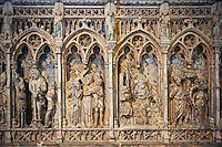 Medieval Gothic panel showing Christ and the Cross from The  Cathedral Basilica of Saint Denis ( Basilique Saint-Denis ) Paris, France. A UNESCO World Heritage Site.