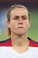 Heather O'Reilly. The USA defeated England, 3-0 during the quarterfinals of the FIFA Women's World Cup in Tianjin, China.  The USA defeated England, 3-0.