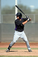 Colorado Rockies infielder Dom Nunez (75) during an instructional league game against the Milwaukee Brewers on October 1, 2013 at Maryvale Baseball Park Training Complex in Phoenix, Arizona.  (Mike Janes/Four Seam Images)