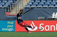 FOXBOROUGH, UNITED STATES - MAY 28: Christian Mafla #38 of New England Revolution II passes the ball during a game between Fort Lauderdale CF and New England Revolution II at Gillette Stadium on May 28, 2021 in Foxborough, Massachusetts.