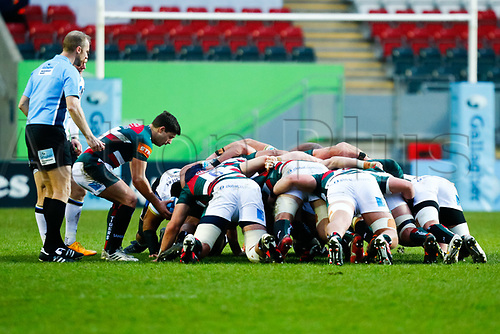 3rd January 2021; Welford Road Stadium, Leicester, Midlands, England; Premiership Rugby, Leicester Tigers versus Bath Rugby; Ben Youngs of Leicester Tigers puts the ball into the scrum under the watchfall eyes of Wayne Barnes