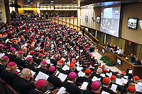 Pope Francis  speech to cardinals and bishops participating in the Papal consistory before the nominations of new cardinals, at the Vatican on February 12, 2015.