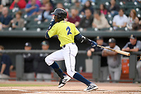Shortstop Ronny Mauricio (2) of the Columbia Fireflies bats in a game against the Charleston RiverDogs on Thursday, April 4, 2019, at Segra Park in Columbia, South Carolina. Charleston won, 2-1. (Tom Priddy/Four Seam Images)