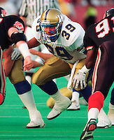 Chris Tsingaris Winnipeg Blue Bombers lineman 1992. Copyright photograph Scott Grant/