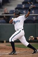 July 6 2009: Juan Fuentes of the Everett AquaSox bats against the Yakima Bears at Everett Memorial Stadium in Everett,WA.  Photo by Larry Goren/Four Seam Images