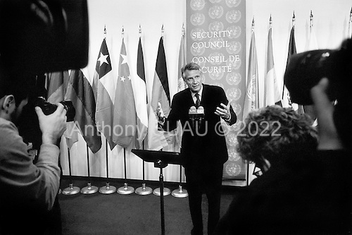 New York, New York.USA.February 14, 2003..UN Security Council meets on the impending crisis in Iraq...French Foreign Minister Dominique de Villepin speaks to the press after the UN meeting.