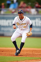 Montgomery Biscuits first baseman Patrick Leonard (20) during a game against the Jackson Generals on April 29, 2015 at Riverwalk Stadium in Montgomery, Alabama.  Jackson defeated Montgomery 4-3.  (Mike Janes/Four Seam Images)