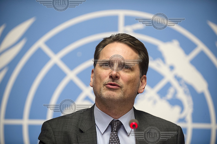 Pierre Krahenbuhl, Commissioner General of UNRWA (United Nations Relief and Works Agency for Palestine Refugees), launching an emergency appeal for funds at a Press Conference at the United Nations in Geneva, following a sudden major reduction in funding from the United States.