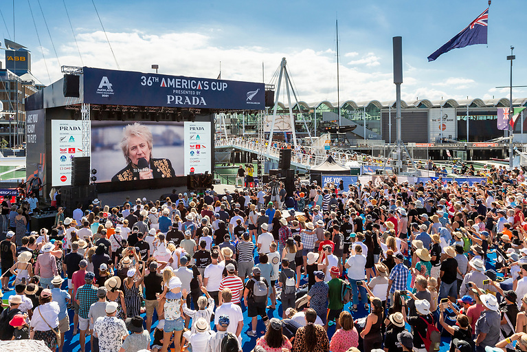 Auckland's Dockside Race Village with Rock The Dock with Rod Stewart in full swing in March