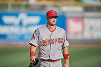 Carson Kelly (19) of the Memphis Redbirds before the game against the Salt Lake Bees at Smith's Ballpark on July 24, 2018 in Salt Lake City, Utah. Memphis defeated Salt Lake 14-4. (Stephen Smith/Four Seam Images)