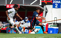 GUADALAJARA, MEXICO - MARCH 28: Jonathan Lewis #7 of the United States is chased down moving towards the box by Christopher Melendez #5 of Honduras during a game between Honduras and USMNT U-23 at Estadio Jalisco on March 28, 2021 in Guadalajara, Mexico.