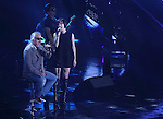 """Jun In-Kwon and Ga-In(Brown Eyed Girls), Jul 24, 2014 : South Korean singer Ga-In of girl group Brown Eyed Girls and rocker Jun In-Kwon (L) perform at the 10th anniversary live special of weekly music chart show, """"M! Countdown"""" of Mnet in Goyang, north of Seoul, South Korea. (Photo by Lee Jae-Won/AFLO) (SOUTH KOREA)"""