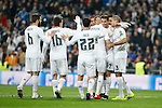 Real Madrid´s Karim Benzema celebrates a goal with his colleagues during 2015/16 Champions League soccer match between Real Madrid and Malmo at Santiago Bernabeu stadium in Madrid, Spain. December 08, 2014. (ALTERPHOTOS/Victor Blanco)