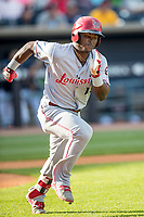 Louisville Bats second baseman Dilson Herrera (15) runs to first base against the Toledo Mud Hens during the International League baseball game on May 17, 2017 at Fifth Third Field in Toledo, Ohio. Toledo defeated Louisville 16-2. (Andrew Woolley/Four Seam Images)