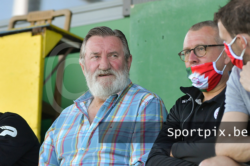 former Belgian Red Devil Luc Millecamps  pictured with sports coordinator Luc Declercq during a female soccer game between SV Zulte - Waregem and White Star Woluwe on the 10 th and last matchday in play off 2 of the 2020 - 2021 season of Belgian Scooore Womens Super League , saturday 29 of May 2021  in Zulte , Belgium . PHOTO SPORTPIX.BE | SPP | DIRK VUYLSTEKE