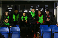 Fleetwood Town's players sat in the dug out before the off in The Checkatrade Trophy match between Bury and Fleetwood Town at Gigg Lane, Bury, England on 9 January 2018. Photo by Juel Miah/PRiME Media Images.