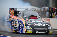 Sept. 16, 2011; Concord, NC, USA: NHRA funny car driver Tony Pedregon during qualifying for the O'Reilly Auto Parts Nationals at zMax Dragway. Mandatory Credit: Mark J. Rebilas-US PRESSWIRE