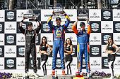 Josef Newgarden, Team Penske Chevrolet, Alexander Rossi, Andretti Autosport Honda, Scott Dixon, Chip Ganassi Racing Honda, podium