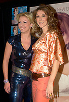 April 03, 2002, Montreal, Quebec, Canada; <br /> <br /> Singer Celine Dion (R)and V»ronique Cloutier (L)<br /> pose for photographers before recording<br />  La Fureur de C»line,a  special TV show hosted by  Cloutier , April 03, 2002, in Montreal, Canada.<br /> <br /> Dion's album is at the number one in 18 countries<br /> <br /> Her husband Rene Angelil finds himself fending off a civil suit alleging assault and sexual battery, that apparently happened two years ago in Las Vegas.