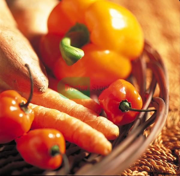 basket of orange vegetables containing anti-oxidants and beta-carotene