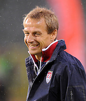 Juergen Klinsmann, coach of team USA, at the warm up during the friendly match Belgium against USA at King Baudoin stadium in Brussel, Belgium on September 06th, 2011.