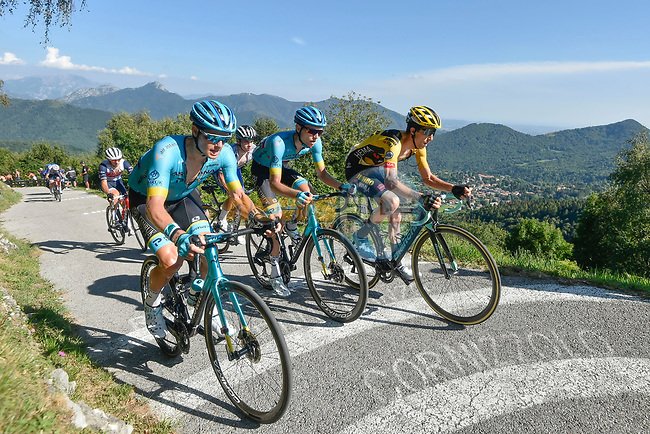 The lead group featuring Jakob Fuglsang (DEN) and Russian Champion Aleksandr Vlasov (RUS) Astana Pro Team and George Bennett (NZL) Team Jumbo-Visma climb the Muro di Sormano during the 114th edition of Il Lombardia 2020, running 231km from Bergamo to Como, Italy. 15th August 2020.<br /> Picture: LaPresse/Fabio Ferrari   Cyclefile<br /> <br /> All photos usage must carry mandatory copyright credit (© Cyclefile   LaPresse/Fabio Ferrari)