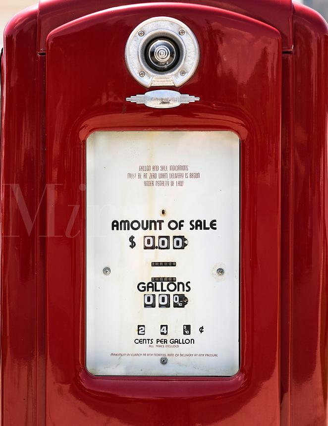 Old fashioned gasoline pump detail.