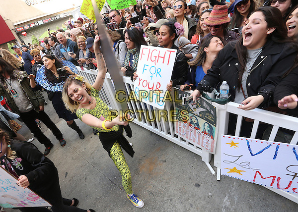 Los Angeles CA - JANUARY 21: Miley Cyrus, At Women's March Los Angeles, At Downtown Los Angeles In California on January 21, 2017. <br /> CAP/MPI/FS<br /> ©FS/MPI/Capital Pictures