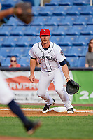 Binghamton Rumble Ponies first baseman Peter Alonso (16) during a game against the Erie SeaWolves on May 14, 2018 at NYSEG Stadium in Binghamton, New York.  Binghamton defeated Erie 6-5.  (Mike Janes/Four Seam Images)