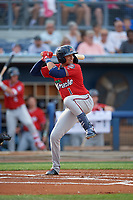 Fort Myers Miracle Royce Lewis (1) at bat during a Florida State League game against the Charlotte Stone Crabs on April 6, 2019 at Charlotte Sports Park in Port Charlotte, Florida.  Fort Myers defeated Charlotte 7-4.  (Mike Janes/Four Seam Images)