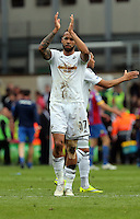 Pictured: Kyle Bartley of Swansea thanks away supporters<br />