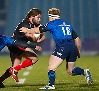 8th January 2021; RDS Arena, Dublin, Leinster, Ireland; Guinness Pro 14 Rugby, Leinster versus Ulster; John Andrew of Ulster tries to get past James Tracy of Leinster