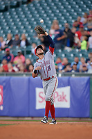 Syracuse Chiefs first baseman Matt Skole (16) catches a popup during a game against the Buffalo Bisons on June 30, 2017 at Coca-Cola Field in Buffalo, New York.  Syracuse defeated Buffalo 8-1.  (Mike Janes/Four Seam Images)