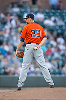 Buies Creek Astros starting pitcher Justin Ferrell (29) looks to his catcher for the sign against the Winston-Salem Dash at BB&T Ballpark on April 13, 2017 in Winston-Salem, North Carolina.  The Dash defeated the Astros 7-1.  (Brian Westerholt/Four Seam Images)