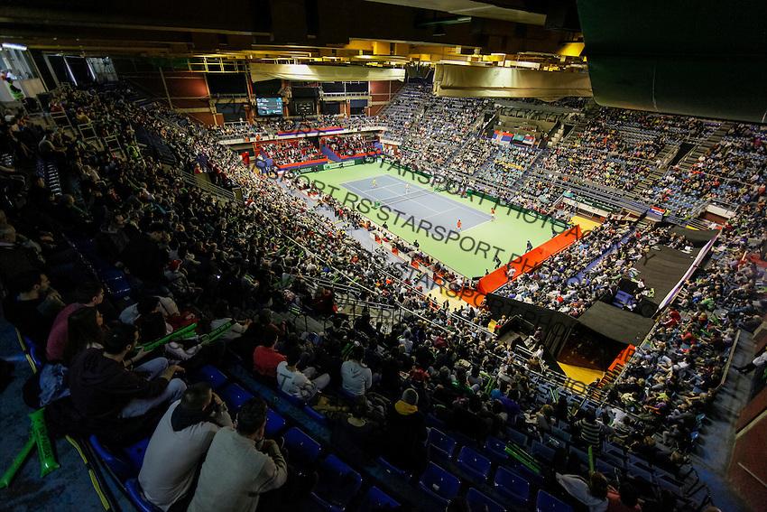 Davis Cup 2016 first round<br /> Srbija v Kazahstan<br /> Novak Djokovic and Nenad Zimonjic (SRB) v Aleksandr Nadovyesov and Andrey Golubev (KAZ)<br /> General overview of Hall Pionir (Aleksandar Nikolic) total<br /> Beograd, 05.03.2016.<br /> Foto: Srdjan Stevanovic/Starsportphoto.com©