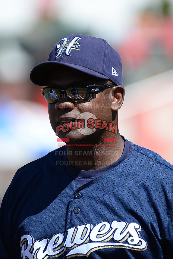 Tony Diggs (7) of the Helena Brewers prior to the game against the Ogden Raptors at Lindquist Field on July 21, 2013 in Ogden Utah. (Stephen Smith/Four Seam Images)