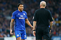 Nathaniel Mendez-Laing of Cardiff City talks with referee Lee Mason during the Fly Emirates FA Cup Fourth Round match between Cardiff City and Manchester City at the Cardiff City Stadium, Wales, UK. Sunday 28 January 2018