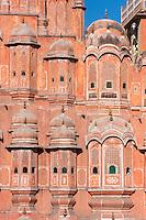 Jaipur, Rajasthan, India.  Hawa Mahal, built 1799.  Hexagons in the upper window laticework.