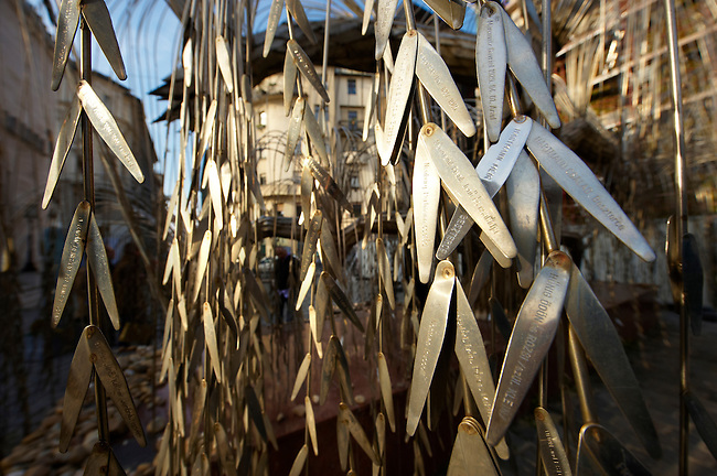 """Imre Varga's """"Memorial of the Hungarian Jewish Martyrs"""" with leaves with the names of Jews murdered in the second world War."""