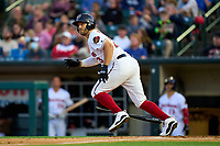 Rochester Red Wings Daniel Palka (23) hits a double during a game against the Worcester Red Sox on September 3, 2021 at Frontier Field in Rochester, New York.  (Mike Janes/Four Seam Images)