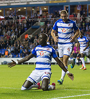 Modou Barrow of Reading slides on his knees to celebrate scoring his first goal for the club making it 2 0 during the Sky Bet Championship match between Reading and Aston Villa at the Madejski Stadium, Reading, England on 15 August 2017. Photo by Andy Rowland / PRiME Media Images.<br /> **EDITORIAL USE ONLY FA Premier League and Football League are subject to DataCo Licence.