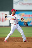 Johnson City Cardinals shortstop Edmundo Sosa (19) makes a throw to first base against the Bristol Pirates at Howard Johnson Field at Cardinal Park on July 6, 2015 in Johnson City, Tennessee.  The Pirates defeated the Cardinals 2-0 in game one of a double-header. (Brian Westerholt/Four Seam Images)