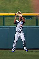 Glendale Desert Dogs outfielder Jacob Scavuzzo (21) catches a fly ball during an Arizona Fall League game against the Mesa Solar Sox on October 14, 2015 at Sloan Park in Mesa, Arizona.  Glendale defeated Mesa 7-6.  (Mike Janes/Four Seam Images)