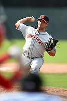 Connecticut Tigers pitcher Josh Laxer (49) delivers a pitch during the second game of a doubleheader against the Batavia Muckdogs on July 20, 2014 at Dwyer Stadium in Batavia, New York.  Connecticut defeated Batavia 2-0.  (Mike Janes/Four Seam Images)
