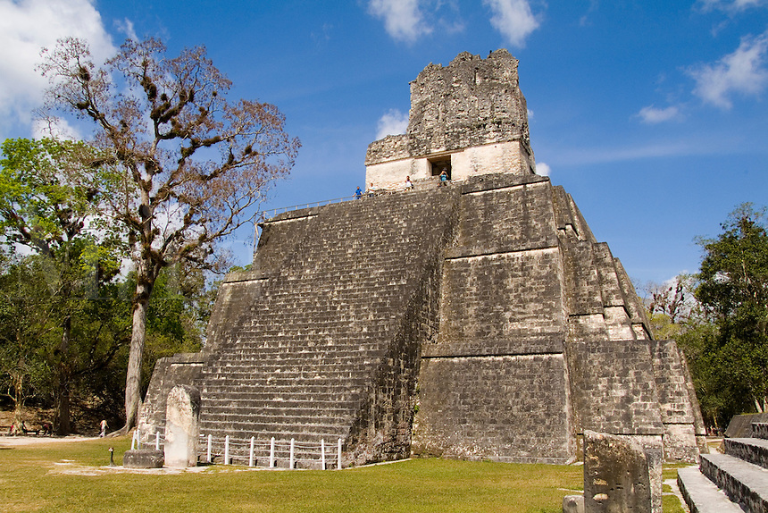 Tower 2 at the famous Mayan Ruins in the Gran Plaza showing the civilization of historical Maya Indians at remote village of Tikal Guatemal