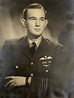 BNPS.co.uk (01202) 558833<br /> Pic: Bosleys/BNPS<br /> <br /> Pictured: Squadron Leader Alfred Clarke<br /> <br /> The heroics of an RAF pathfinder pilot who kept a major bombing raid on track and got his crew home with his aircraft on fire can be revealed after his medals sold for £4,300.<br /> <br /> Squadron Leader Alfred Clarke's Lancaster plane came under attack by a German night-fighter near to Cologne, setting one of its engines ablaze.<br /> <br /> The crew's rear gunner was also badly wounded and unable to defend them from a hostile barrage.<br /> <br /> Nevertheless, Sq Ldr Clarke ploughed on as following his aircraft were 282 Allied bombers relying on his crew to drop sky markers on their targets.