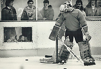 1987 FILE PHOTO - ARCHIVES -<br /> <br /> Hi guys!: Ever feel like you're being watched? No doubt; goaltender Clint Malarchuk of the NHL all-stars had that feeling yesterday at practise as a couple of young fans study his techique between the pipes. The Quebec Nordiques netminder was the fans' choice to start the Rendez-Vous series with the Soviet national team but the NHL coaches opted for Grant Fuhr of the Oilers.<br /> <br /> PHOTO :  Mike Slaughter  - Toronto Star Archives - AQP