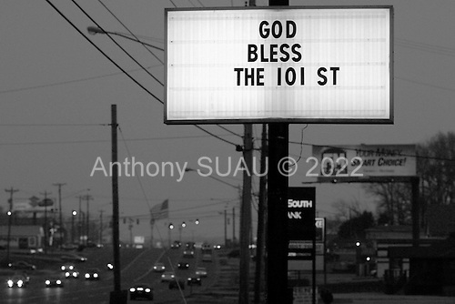 Fort Campbell, Kentucky.USA.March 12, 2003..Support the troops signs along the Fort Campbell road outside the base.