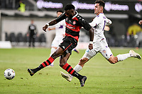 19th March 2021; Bankwest Stadium, Parramatta, New South Wales, Australia; A League Football, Western Sydney Wanderers versus Perth Glory; Bernie Ibini of Western Sydney Wanderers takes a shot on goal as Luke Bodnar of Perth Glory fails to catch him. Ibini scores but hs goal is disallowed for offside