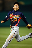 Munemori Kawasuki of Japan during World Baseball Championship at Angel Stadium in Anaheim,California on March 14, 2006. Photo by Larry Goren/Four Seam Images
